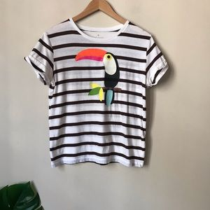 Kate Spade | Toucan Striped Cuff Sleeve Shirt S